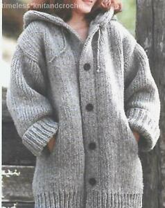 """KNITTING PATTERN FOR LADIES OVERSIZED JACKET IN CHUNKY - 46-66""""  EASY TO KNIT"""