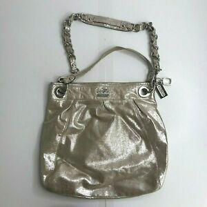 Coach Silver Pink Leather Handbag Purse NEW Blush Charms Shoulder Bag Shimmer