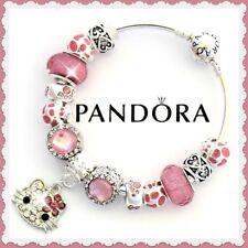 61a51e7ce Pandora Charm Bracelet Silver Valentine with HELLO KITTY Pink Cat Charm  Dangle