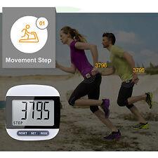 LCD Digital Step Pedometer Walking Calorie Counter Distance Run Belt Clip Clock Black