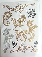 Planche de 16 Tatouages éphémères métallique waterproof. Tattoo papillon  fleur