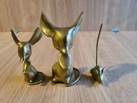 3 Bronze Mouse Big Ears Different Sizes Figurines Ornament Paperweight Vintage