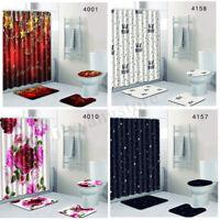 4Pcs Chirstmas Bathroom Shower Curtain Pedestal Rug Lid Toilet Cover Bath Mat