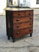 Bow Fronted Mahogany Chest Of Drawers. Splits In 2 For Easier Transportation.