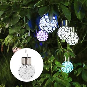 2-10PC Solar Power Crystal Hanging Ball Lights 7Colour Changing LED Garden Light