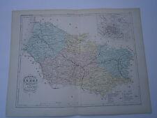Carte 19° 1852  couleur atlas Malte brun Département de la Somme Plan d'Amiens