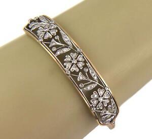 Estate 1.50ct Diamond 14k Gold Wide Floral Bangle Bracelet LIQUIDATION!