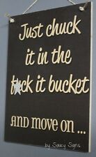 Naughty F*ck It Bucket Sign - Pub Bar Office Man Cave Wooden Warning Shed Family