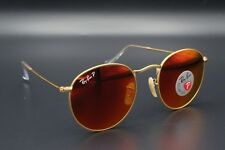 New Ray-Ban RB3447 112/4D Gold/Red Flash Polarized Round Metal Sunglasses 50mm