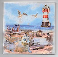 Dekofliese Wandbild Bildfliese Decoupage Leuchtturm Robben am Strand (087DP)
