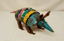 "17"" Recycled SCRAP metal yard art Junk Rustic ARMADILLO Garden Sculpture Folk TX"