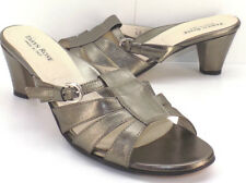 TAYRN ROSE Pewter Leather Strappy Slide Sandals Women's 40 US Shoe Size 9M