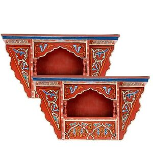 SET OF 2 - Rustic Floating Shelves Red , Wall Shelves Floating Bathroom Shelf
