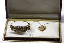 ORIGINAL JEWELRY CASE 1/20 10k GOLDFILLED HEART LOCKET NECKLACE & HEART BRACELET