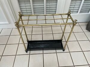 LARGE ANTIQUE UMBRELLA & STICK STAND BRASS WITH CAST IRON BASE & DRIP TRAY