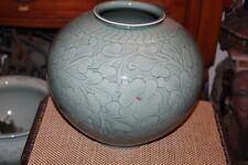 Large Korean Asian Porcelain Vase Signed Stamped Floral Designs Bulbous Shape