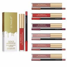 O.TWO.O Makeup Matte Velvet Lip Kit Lacquer Liner Pencil Lipstick Duo Nude Peach