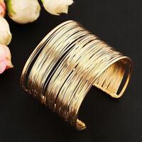 LN_ Minimalist Women Multi-strand Metal Open Bangle Wide Cuff Bracelet Jewelry