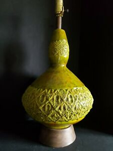 Vintage Mid Century Modern Brutalist Ceramic Drip Lava Glaze Pottery Table Lamp
