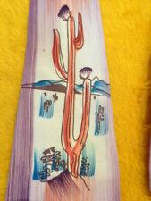 "1940s 1950s Vintage Antique ~ Hand Painted Mens Tie ~ Desert Scene Cactus ~ 50"""