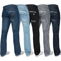 KRUZE Mens Straight Leg Jeans Regular Fit Denim Trousers Pants All Waist 28– 50""