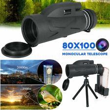 80X100 Zoom Hd Lens Prism Hiking Monocular Telescope + Phone Clip + Tripod Us