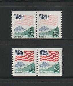 US EFO, ERROR Stamps: #2280 Flag Yosemite. Red ink freak, coil pair. MNH