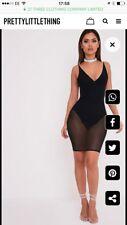 Plt Negro Vestido Ceñido al cuerpo de superposición de Malla-BNWT-tamaño 8