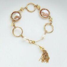 Handmade!Freshwater Pearl Tassel Circle Bracelet Yellow Gold Filled,Adjustable