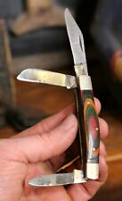 Vintage Wood and brass Folding Pocket Knife Hunting Camping Swirls 3 blade old