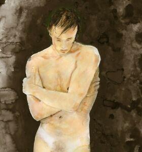 Cornwall II, Painting, NUDE male,1/8/50 Watercolor Realism Free Ship, nude male
