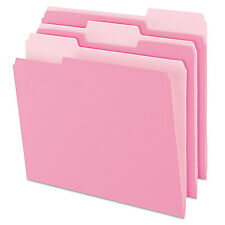 Pendaflex Colored File Folders 1/3 Cut Top Tab Letter Pink/Light Pink 100/Box