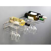 Floating Wine Bottle & Glasses Wall Holder Holds 6 Bottles & 15 Glasses Shelving