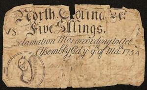 1754 NORTH CAROLINA COLONIAL CURRENCY 5s SQUIRREL NOTE OLD PAPER MONEY NC-76