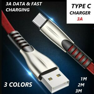Fast Charging Data Zinc Cable Charger 3A  USB To Type-C Strong Lead 1M 2M 3M