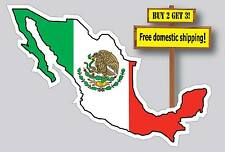Mexico Mexican Map With Flag Decal Sticker Country Die Cut FLG44