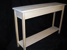 """Unfinished 46"""" Console, Sofa, Foyer Beveled Edge 11""""deep Pine Table w/ Shelf"""