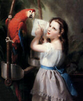 CHENPAT1012 hand little girl teaches parrots to read oil painting art on canvas