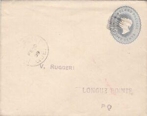 Newfoundland to Canada Queen Victoria 5c Envelope Stationery Grid Cancel 1899