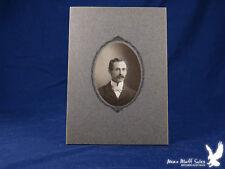 Antique Portrait Man Gent Evening Attire White Bow Tie Bushy Mustache
