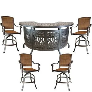 Elisabeth cast aluminum patio bar table set 4 Santa Clara wicker swivel stools