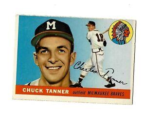 1955 Topps CHUCK TANNER #161 Milwaukee Braves VG