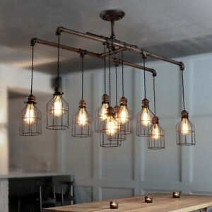 Industrial Steampunk Pipe Chandelier Ceiling Light Pendant Lamp Hanging Fixtures