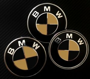 MATTE Black & Gold Overlays Decals to BMW EMBLEMS Badge Hood Trunk Rims Wheels M