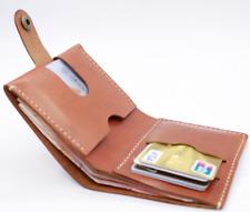 men women wallet purse cow Leather bank credit card case bag handmade brown Z861