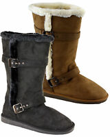 Ladies Womens Mid Calf Fur Warm Lined Boxed Winter Snow Zip Boots Shoes Size 3-8