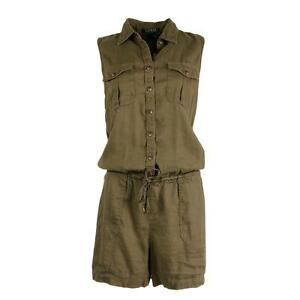 Ralph Lauren Romper Jumpsuit Green Sleeveless Linen Size AU16 US12 L
