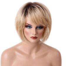 100% Human Hair Full Wigs Blonde Bob Hairpieces Oblique Fringe Cosplay Party