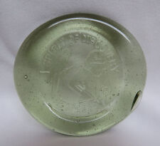 Spirit Of Discovery 1607 - 1985 K O G Hand Blown Green Glass Paperweight Coaster