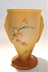1937 7 inch Roseville USA yellow with brown base ixia vase #854-7